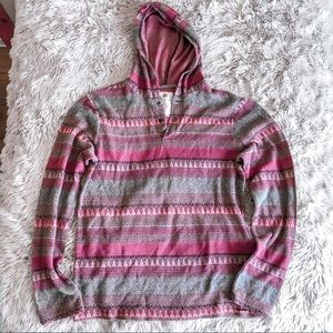 Red patterned lightweight hooded top